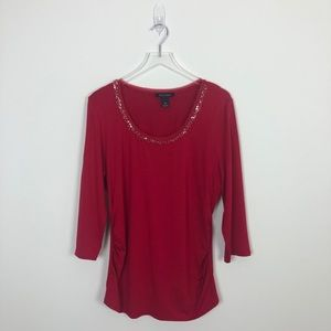 WHBM Red Bedazzled Scoop Neck Tee